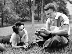"""James Dean With Elizabeth Taylor on the set of """"Giant"""""""