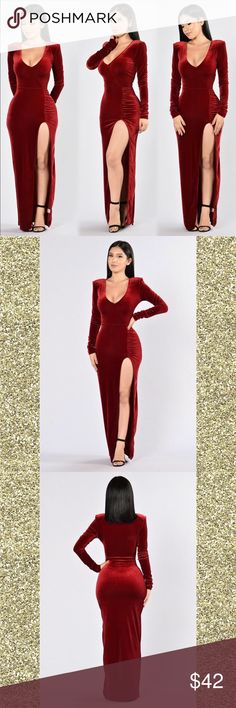 Red Velvet Dress ❤ Available in Red Deep V Thigh High Front Slit Shoulder Pads Ruching Detail 100% Polyester Fashion Nova Dresses Long Sleeve