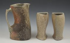 James Tingey  |  Wood-fired, Stoneware Pitcher & two cups.