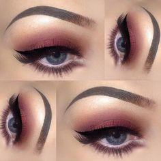 Blue Eyes: Light Eyed Burgundy Makeup Look # eyes . - Hochzeits Make up - Eye Makeup Eye Makeup Tips, Love Makeup, Skin Makeup, Makeup Inspo, Makeup Inspiration, Beauty Makeup, Makeup Style, Makeup Ideas, Makeup Tutorials