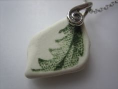 BEACH POTTERY PENDANT Necklace Sterling Silver Green Leaf Real Surf Tumbled Ceramic Beach Seaglass Jewelry N /217 via Etsy