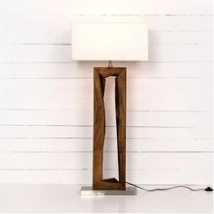 Granada Floor Lamp at Industrial Home. Primitive materials play on a traditional floor light. Carved from mango wood with steel base and center cutout. Diy Floor Lamp, Wood Floor Lamp, Modern Floor Lamps, Traditional Floor Lamps, Room Lamp, Bed Room, Pipe Lamp, Unique Lamps, Tripod Lamp