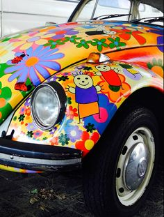 "VW Beetle..remembering ""flower power, woodstock  the hippie revolution ....now those were the good times !"