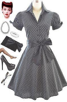 50s Style Black Polka Dot Dress