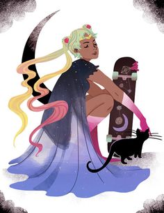Cool Sailor Moon art...digging the cloak and the hair