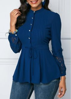 Crinkle Chest Lace Panel Navy Blue Peplum Blouse | modlily.com - USD $26.78