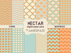 Orange and Teal Digital Papers  Perfect for scrapbooking and cardmaking.