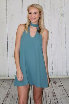 Agave Blue Choker Dress