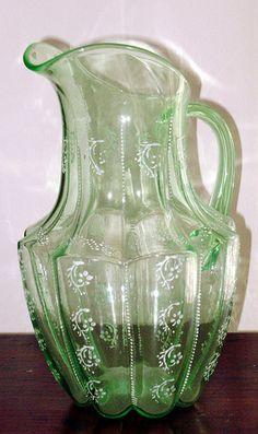 pitcher enamel greenglass larken larkenco