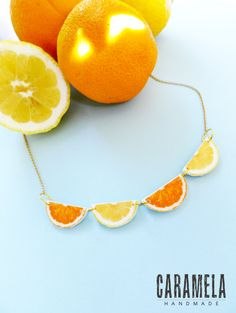Lemon and orange slices Necklace / Fruit by CaramelaHandmade