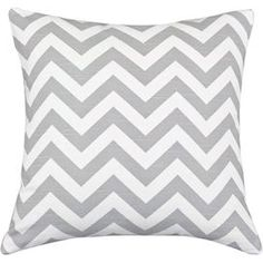 "Cotton pillow with a zigzag motif. Made in Council Bluffs, Iowa.   Product: Set of 2 pillowsConstruction Material: 100% Cotton cover and polyester fillColor: White and ash greyFeatures:  Inserts includedMade in Council Bluffs, Iowa  Dimensions: 17"" x 17"" eachCleaning and Care: Hand or spot clean"
