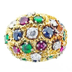 Multi- Gemstone Dome Ring | From a unique collection of vintage dome rings at http://www.1stdibs.com/jewelry/rings/dome-rings/