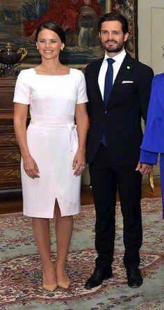 Prince Carl Philip and fiancée Sofia Hellqvist at the Royal Palace in Stockholm to welcome Indian President's three day State Visit to Sweden on 31.05.2015