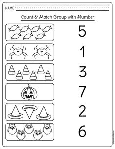 Halloween math activities kindergarten students and teachers need! I am glad I don't need to look for kindergarten math printables any longer. Use these free printables for extra homework or kindergarten math centers. Halloween Worksheets, Printable Math Worksheets, Kindergarten Worksheets, Free Printables, Number Worksheets, Halloween Activities, Kindergarten Math Activities, Preschool Assessment, Kindergarten Colors