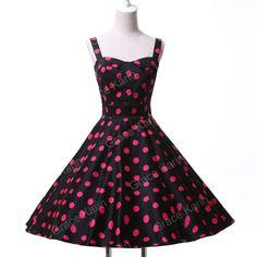 50s Vintage Dress Polka dot Short Pinup Rockabilly Swing Tea Party Prom Dresses