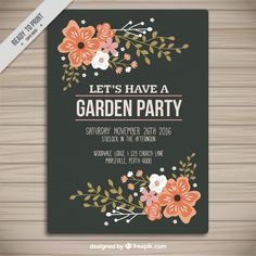 Garden Party invite for Bat Mitzvah Party invitation Garden Party Invitations, Bat Mitzvah Party, Vintage Flowers, Vintage Designs, Vector Free, Invite, Party Invitations, Iphone Backgrounds Tumblr, Retro Flowers