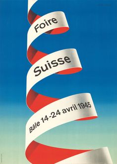 Rolf Rappaz, Schweizer Mustermesse Basel, 1945. Old poster with gradient background and 3D type.