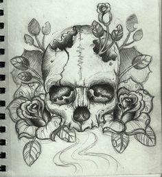 skull drawing/ tattoo design