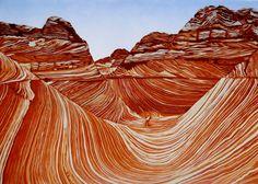 The Wave, Coyote Buttes, Arizona. Unframed linocut.. £49.00, via Etsy.