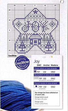cross stitch chart*<3* Point de croix Joy star cross stitch pattern for an ornament