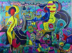 tableau Isafara acrylique huile rencontres 130 x97 cm