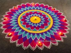 Colorful rangoli design by shanthi sridharan Easy Rangoli Designs Diwali, Rangoli Designs Latest, Simple Rangoli Designs Images, Rangoli Designs Flower, Free Hand Rangoli Design, Small Rangoli Design, Rangoli Ideas, Colorful Rangoli Designs, Flower Rangoli