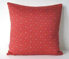 Red Cushion in a Geometric star design fom Vintage Japanese Kimono Silk 35x35cm £30.00