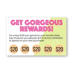 Pop & Glow Rewards Card to perfectly go with the new Mary Kay products! Customizable the details and the amounts! Find it on www.thepinkbubble.co!