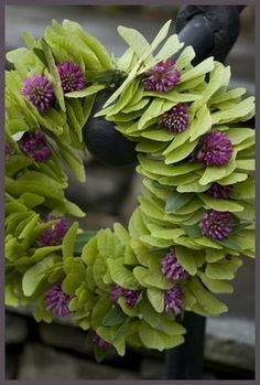 Green and Purple Wreath. Purple Wreath, Floral Wreath, Green Wreath, Bouquet, Seed Pods, Wreath Crafts, Front Door Decor, Summer Wreath, How To Make Wreaths