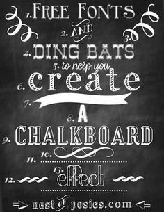 Free Chalkboard Fonts & Dingbats - via Nest of Posies