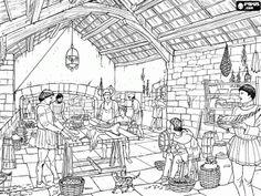 De keuken van een kasteel of een paleis met de bedienden het bereiden van voedsel kleurplaat