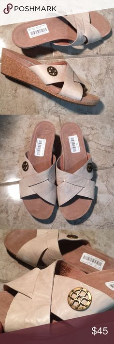 UGG Lyra cork wedge sandals New with tag but no box. Ugg sizes tend to run small. 2 inch heel. Color is Antique White UGG Shoes Wedges