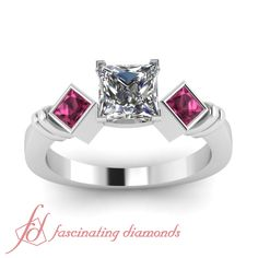 Twin Box Ring|| Princess Cut Diamond Three Stone Ring With Pink Sapphire In 14K White Gold