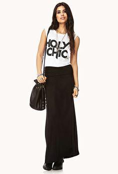 Favorite Maxi Skirt | FOREVER21 - 2000091160 black maxi skirt made from yoga material 12.80