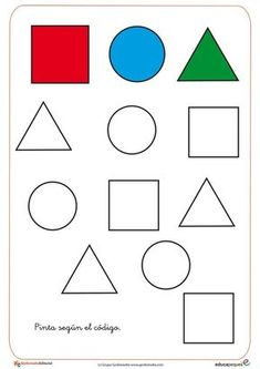 paint or make your own work sheet to turn the shapes into traceable lines, have students trace the lines and then Color the shapes Preschool Colors, Preschool Writing, Numbers Preschool, Preschool Learning Activities, Free Preschool, Preschool Printables, Numbers Kindergarten, Printable Activities For Kids, Shapes Worksheets