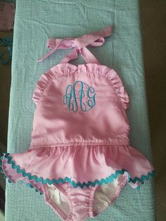 Toddler and Girl's Monogrammed Bathing Suit by BabyDoodleBoutique, $25.00