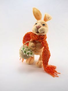 Yellow Bunny With Flowers. Needle Felted Bunny by FluffyFuzzy, $40.00