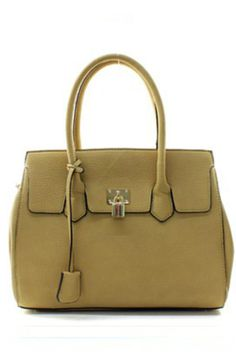 "This khaki pebble faux leather satchel is the perfect combination of fashion and function! It has one large middle compartment with push lock ""kiss"" clasp, and two large compartments on each side with magnetic snaps. It is accented with a decorative designer lock, and hanging fob. It also includes a 40"" adjustable shoulder, cross-body strap.     Bag Size: 15"" Length X 6"" Deep X 11"" High   Khaki Satchel Bag by La Terre. Bags - Satchel Kentucky"