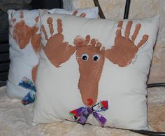 DIY Christmas Gift Idea ~ Reindeer foot print and hand print pillows... grandparents would love this!