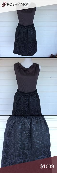 EUC Ann Taylor Loft Cocktail Dress Excellent condition cocktail dress mixes slightly formal with PJ softness. Gorgeous damask skirt with soft and silky tee shirt top. Black on gray monochrome with shimmer and shine on the skirt. Size 10, side zip. Measurements to come. Offers always warmly received. LOFT Dresses