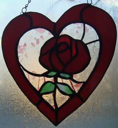 "An ""Every Heart Has It's Rose"" Original Stained Glass Valentine, Birthday, Anniversary Suncatcher, Ornament, Decoration. $65.00, via Etsy."