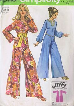 Vintage 70s Misses Jumpsuit Pattern    The Jumpsuit pattern with back zipper and front slit in slightly round neckline has kimono sleeves and optional purchased sash or belt.  View 1 has novelty braid and long sleeves with elastic casings.  View 2 has long bell shaped sleeves.