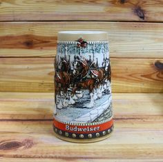 Budweiser Beer Stein 1988 Holidays by ArtMaxAntiques on Etsy