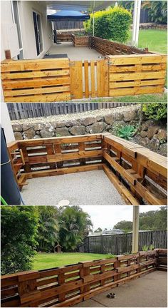 Wood pallet fence - This image of the old shipping pallet recycling will make you offer with the outstanding designing of the fence designing concepts The whole furnishing of the creation has been done in superb flavors Wood Pallet Fence, Pallet Patio, Wood Pallet Planters, Recycled Pallets, Wooden Pallets, Diy Pallet Projects, Garden Projects, Pallet Ideas, Wood Projects