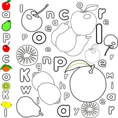 fruit coloring and spelling coloring pages find the words and color each differently