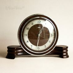 Vintage Retro 1930s Art Deco METAMEC Wooden Wind Up Clockwork Mantel Clock by UpStagedVintage on Etsy