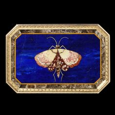 Moth on base of pietre dure with lapis lazuli snuffbox, Italy, probably Florence, c. 1815, museum no. 188-1878; George Mitchell Bequest   The Victoria and Albert Museum, London