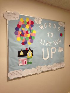 RA bulletin board! Pixar's Up themed! Good bulletin board during midterm season!