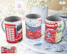 Caneca e ou Mug Rug London Scrapbook