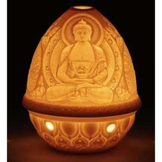 "Lithophane Votive Light, Buddha 3.5"", Lladro"